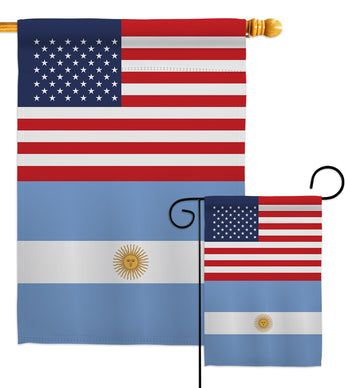 Argentina US Friendship - Nationality Flags of the World Vertical Impressions Decorative Flags HG140280 Made In USA