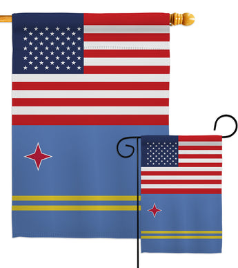 Aruba US Friendship - Nationality Flags of the World Vertical Impressions Decorative Flags HG140283 Made In USA