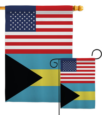Bahamas US Friendship - Nationality Flags of the World Vertical Impressions Decorative Flags HG140289 Made In USA