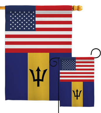 Barbados US Friendship - Nationality Flags of the World Vertical Impressions Decorative Flags HG140292 Made In USA