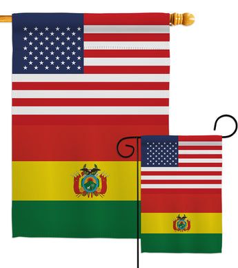 Bolivia US Friendship - Nationality Flags of the World Vertical Impressions Decorative Flags HG140308 Made In USA