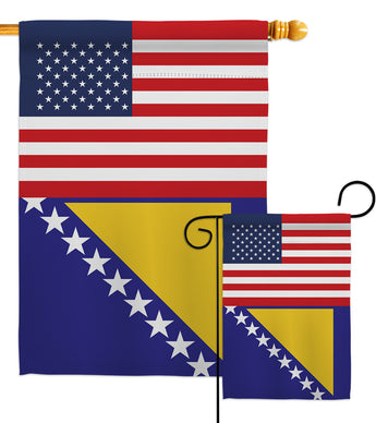 Bosnia-Herzegovina US Friendship - Nationality Flags of the World Vertical Impressions Decorative Flags HG140310 Made In USA