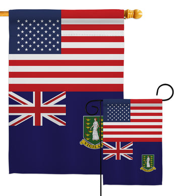 British Virgin Islands US Friendship - Nationality Flags of the World Vertical Impressions Decorative Flags HG140318 Made In USA