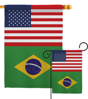 Brazil US Friendship - Nationality Flags of the World Vertical Impressions Decorative Flags HG140320 Made In USA