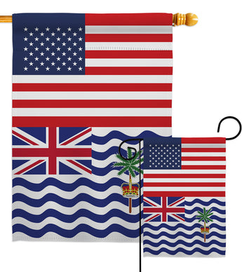 British Indian Ocean Territory US Friendship - Nationality Flags of the World Vertical Impressions Decorative Flags HG140321 Made In USA