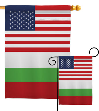 Bulgaria US Friendship - Nationality Flags of the World Vertical Impressions Decorative Flags HG140323 Made In USA