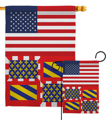 Burgundy US Friendship - Nationality Flags of the World Vertical Impressions Decorative Flags HG140325 Made In USA