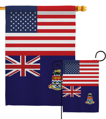 Cayman Islands US Friendship - Nationality Flags of the World Vertical Impressions Decorative Flags HG140331 Made In USA