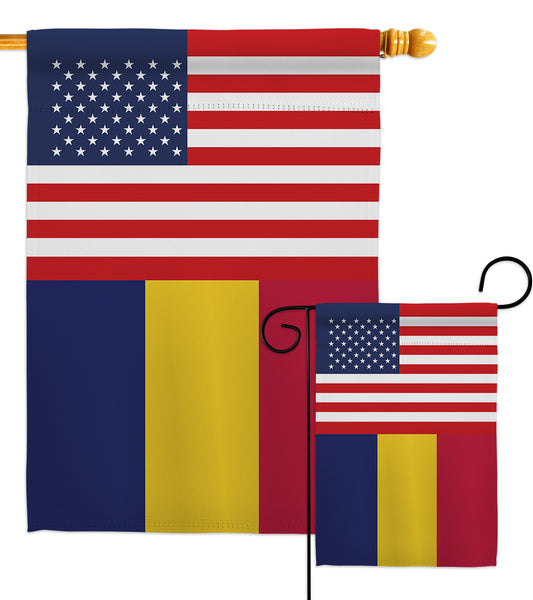 Chad US Friendship - Nationality Flags of the World Vertical Impressions Decorative Flags HG140334 Made In USA