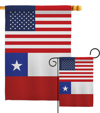 Chile US Friendship - Nationality Flags of the World Vertical Impressions Decorative Flags HG140335 Made In USA