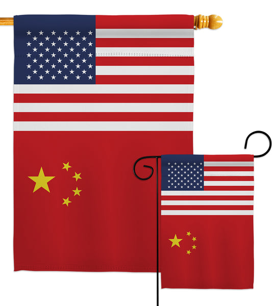 China US Friendship - Nationality Flags of the World Vertical Impressions Decorative Flags HG140336 Made In USA