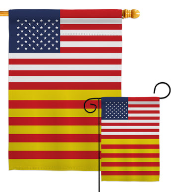 Catalonia US Friendship - Nationality Flags of the World Vertical Impressions Decorative Flags HG140337 Made In USA