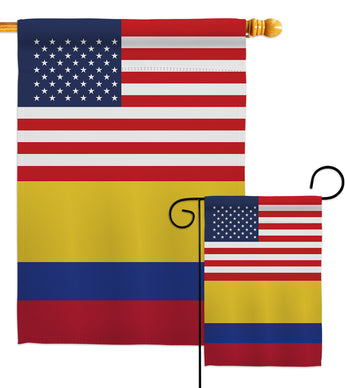 Colombia US Friendship - Nationality Flags of the World Vertical Impressions Decorative Flags HG140339 Made In USA