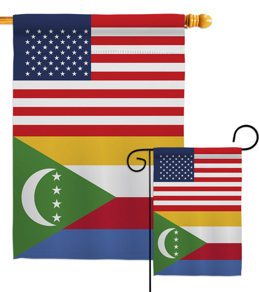 Comoros US Friendship - Nationality Flags of the World Vertical Impressions Decorative Flags HG140340 Made In USA