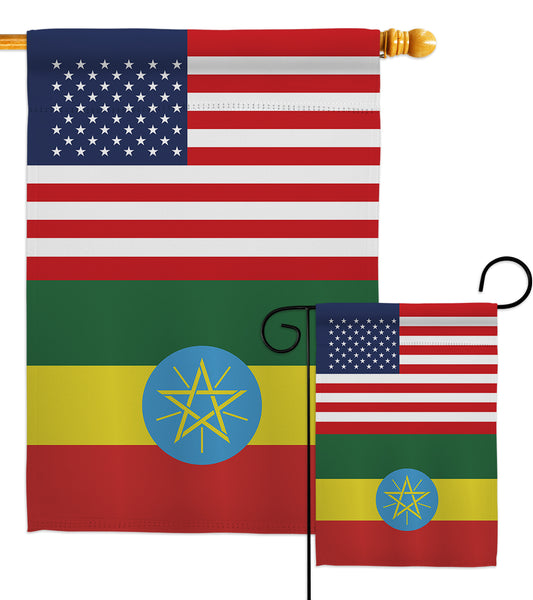 Ethiopia US Friendship - Nationality Flags of the World Vertical Impressions Decorative Flags HG140372 Made In USA