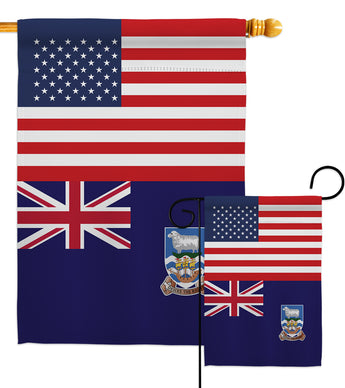Falkland Islands US Friendship - Nationality Flags of the World Vertical Impressions Decorative Flags HG140374 Made In USA