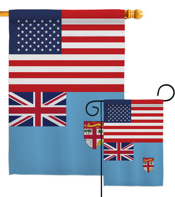 FIJI US Friendship - Nationality Flags of the World Vertical Impressions Decorative Flags HG140377 Made In USA