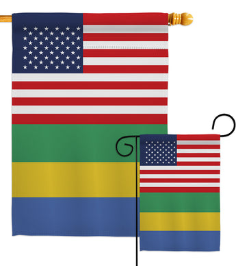 Gabon US Friendship - Nationality Flags of the World Vertical Impressions Decorative Flags HG140380 Made In USA