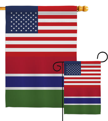 Gambia US Friendship - Nationality Flags of the World Vertical Impressions Decorative Flags HG140381 Made In USA