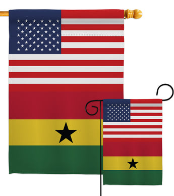 Ghana US Friendship - Nationality Flags of the World Vertical Impressions Decorative Flags HG140385 Made In USA