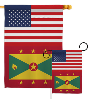 Grenada US Friendship - Nationality Flags of the World Vertical Impressions Decorative Flags HG140389 Made In USA