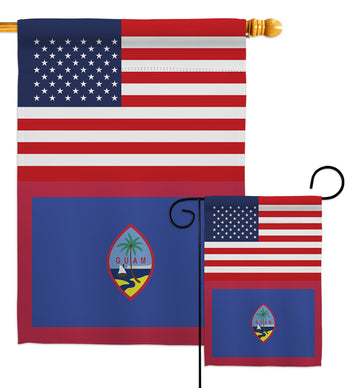 Guam US Friendship - Nationality Flags of the World Vertical Impressions Decorative Flags HG140390 Made In USA