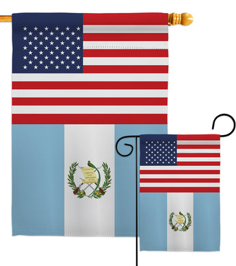 Guatemala US Friendship - Nationality Flags of the World Vertical Impressions Decorative Flags HG140391 Made In USA