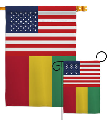 Guinea US Friendship - Nationality Flags of the World Vertical Impressions Decorative Flags HG140393 Made In USA