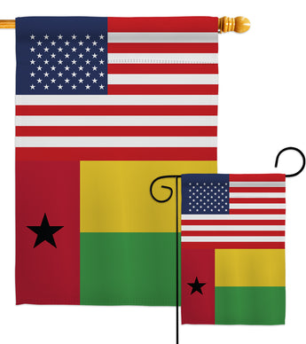 Guinea-Bissau US Friendship - Nationality Flags of the World Vertical Impressions Decorative Flags HG140394 Made In USA