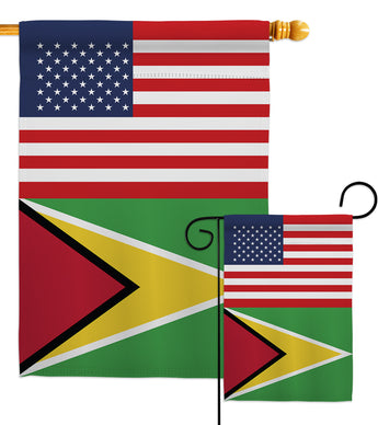 Guyana US Friendship - Nationality Flags of the World Vertical Impressions Decorative Flags HG140395 Made In USA