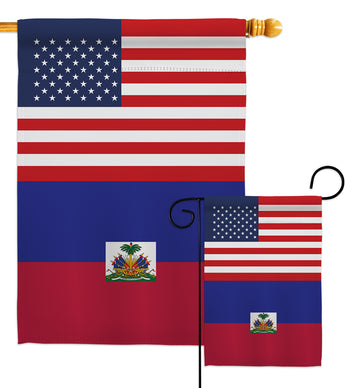 Haiti US Friendship - Nationality Flags of the World Vertical Impressions Decorative Flags HG140396 Made In USA