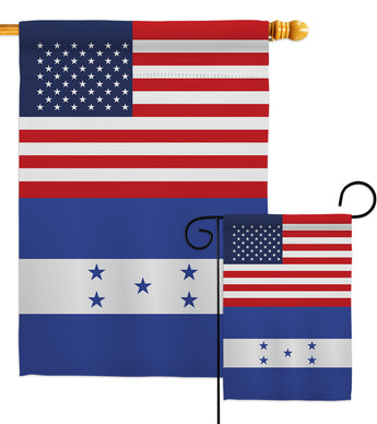 Honduras US Friendship - Nationality Flags of the World Vertical Impressions Decorative Flags HG140397 Made In USA