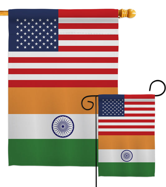 India US Friendship - Nationality Flags of the World Vertical Impressions Decorative Flags HG140401 Made In USA