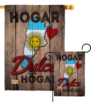 Country Argentina Hogar Dulce Hogar - Nationality Flags of the World Vertical Impressions Decorative Flags HG191163 Made In USA