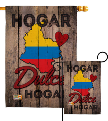 Country Colombia Hogar Dulce Hogar - Nationality Flags of the World Vertical Impressions Decorative Flags HG191164 Made In USA