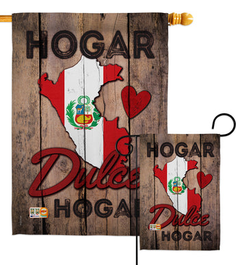 Country Peru Hogar Dulce Hogar - Nationality Flags of the World Vertical Impressions Decorative Flags HG191165 Made In USA