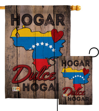 Country Venezuela Hogar Dulce Hogar - Nationality Flags of the World Vertical Impressions Decorative Flags HG191168 Made In USA