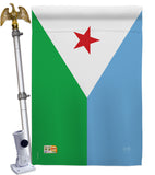 Djibouti - Nationality Flags of the World Vertical Impressions Decorative Flags HG108300 Made In USA