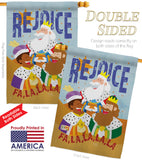 Fa La La Rejoice - Nativity Winter Vertical Impressions Decorative Flags HG114130 Made In USA