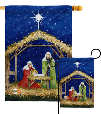 Nativity of Jesus - Nativity Winter Vertical Impressions Decorative Flags HG114214 Made In USA