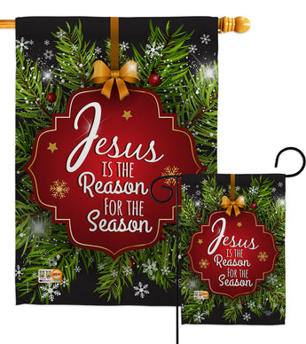 Jesus is the Reason - Nativity Winter Vertical Impressions Decorative Flags HG191059 Made In USA