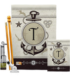 Nautical T Initial - Nautical Coastal Vertical Impressions Decorative Flags HG130202 Made In USA