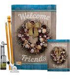 Welcome Breeze Wreath - Nautical Coastal Vertical Impressions Decorative Flags HG137138 Made In USA