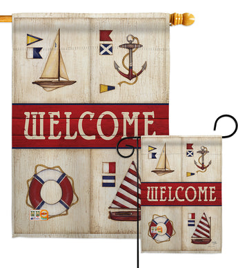 Sailing Collage - Nautical Coastal Vertical Impressions Decorative Flags HG107003 Made In USA