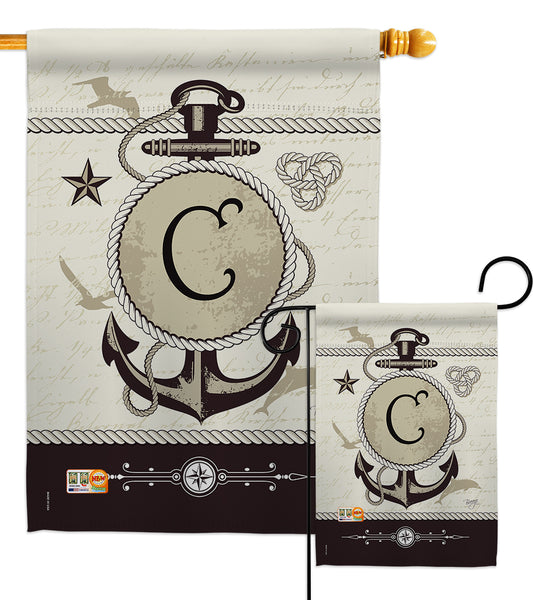Nautical C Initial - Nautical Coastal Vertical Impressions Decorative Flags HG130185 Made In USA
