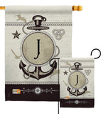 Nautical J Initial - Nautical Coastal Vertical Impressions Decorative Flags HG130192 Made In USA