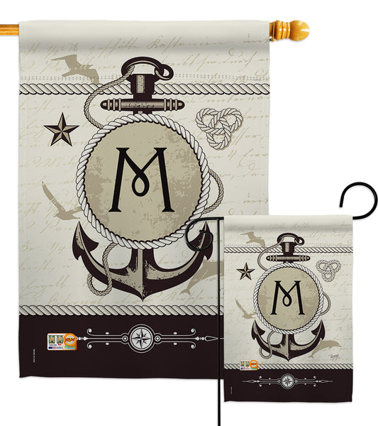 Nautical M Initial - Nautical Coastal Vertical Impressions Decorative Flags HG130195 Made In USA