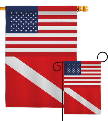 US Divers Flag - Nautical Coastal Vertical Impressions Decorative Flags HG140866 Made In USA
