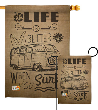Life is Better When you Surf Kombi Bus - Nautical Coastal Vertical Impressions Decorative Flags HG191193 Made In USA