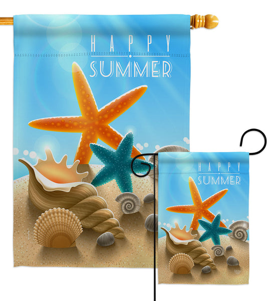 Summer Shells - Nautical Coastal Vertical Impressions Decorative Flags HG192396 Made In USA